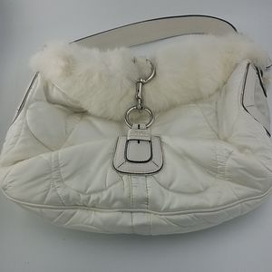 Coach Winter White Fur And Leather Trimmed…